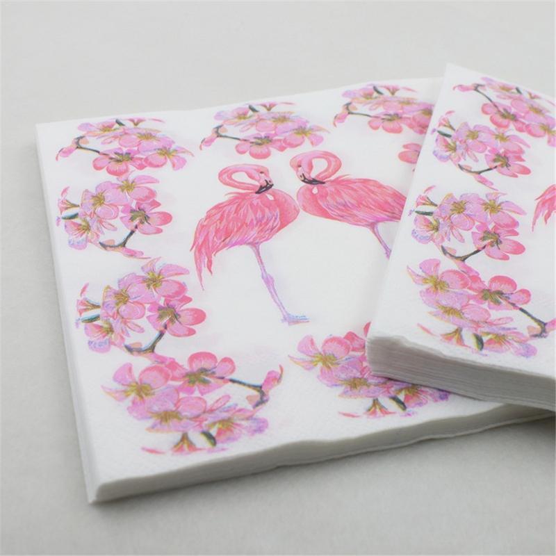 20 Stks/set Kleurrijke Flamingo Print Papier Servet Restaurant Hotel Vakantie Partij Decoratie Papieren Handdoek Praktische Keuken Servet
