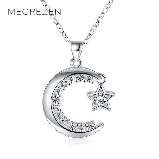 7da3d7df10e9b MEGREZEN collier ras du cou argent pendentif lune Bijouterie turque femmes  bijoux colliers décorations avec pierres