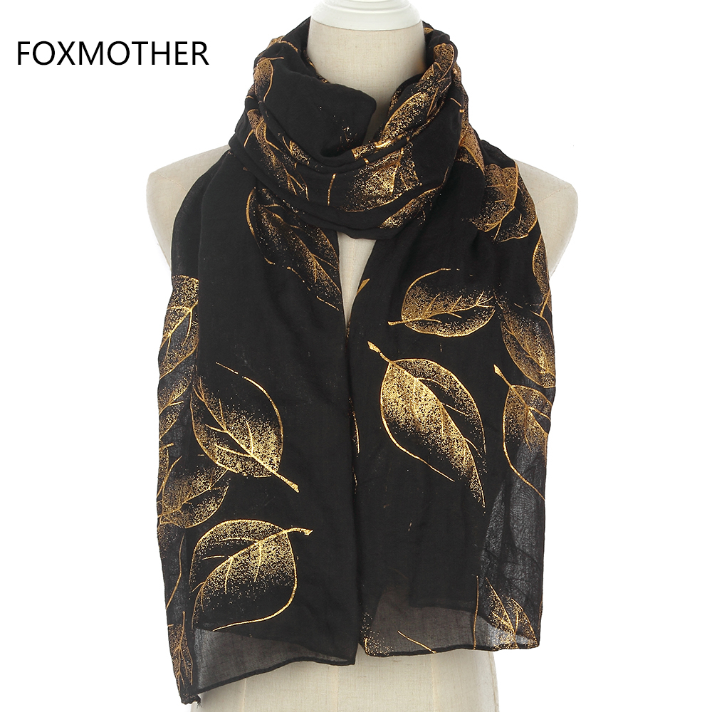 FOXMOTHER New Fashion Shiny Black Foil Gold Autumn Leaves Long Cachecol Hijab Scarfs Wraps For Womens Ladies