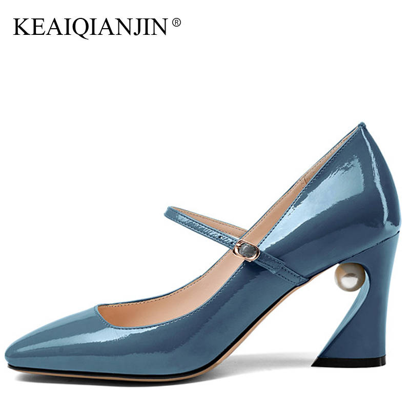 KEAIQIANJIN Woman Genuine Leather Mary Janes Black Blue Plus Size 33 - 43 Sexy High Heels Shoes Spring Square Toe Wedding Pumps keaiqianjin woman patent leather pumps plus size 33 43 high shoes spring autumn metal decoration black genuine leather pumps
