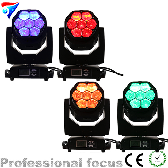 Free Shipping 4pcs/lot 7x15W RGBW 4IN1 Zoom Bee Eye DMX512 LED Moving Head Light DJ/Festival/Home/Stage/Disco Light