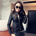 Motorcycle Leather Coat 2015 Spring And Autumn Women's Outerwear Plus Size 5XL  Short Slim PU Leather Jacket Buckle Design