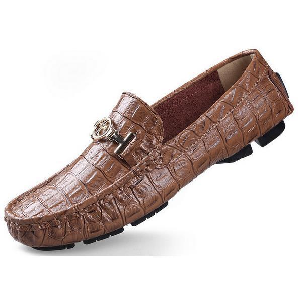 Genuine Leather  Flats Moccasins Men Loafers Casual Driving Shoes Men Slip on Big Size Crocodile39-50 Plus Size Men Shoes big size 39 48 men flats summer genuine leather loafers breathable driving shoes moccasines slip on male casual shoes xk032808