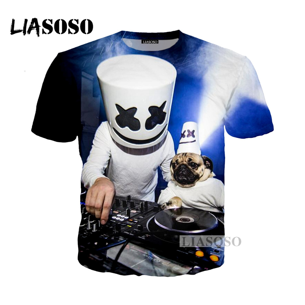 LIASOSO 2018 Harajuku Hip Hop DJ Singer Marshmello 3D Print T-shirt/Hoodie/Sweatshirt Unisex Dog Cartoon Tees Shirts Tops G199