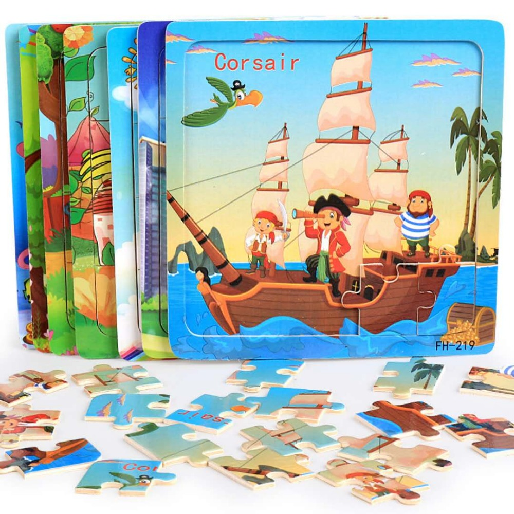 Cut Cartoon Wooden Puzzle Toys Wood Animal Model Toy Small Piece Kids  Early Educational Toys For Children A Party Gift