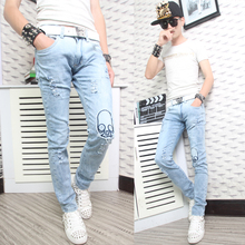 Spring blue casual Frayed hole designer jeans fashion true jeans men famous brand mens jeans pants skinny jeans men trousers