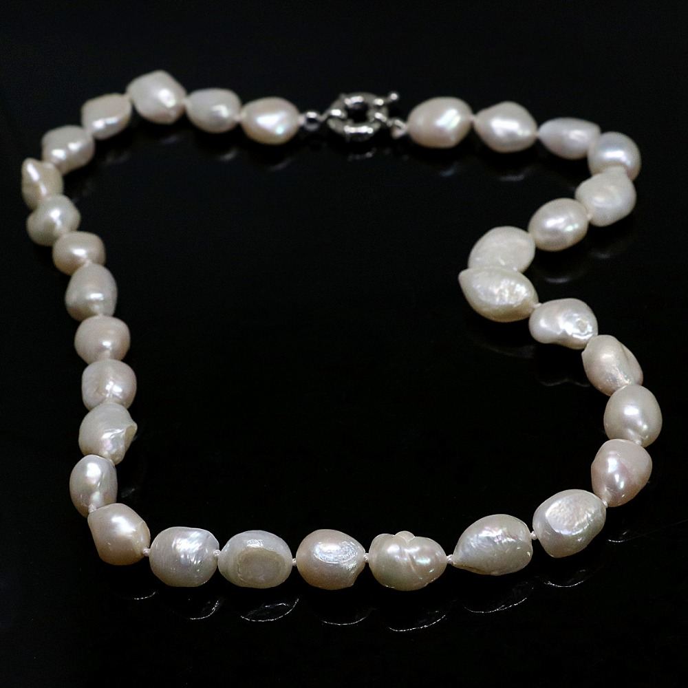 Elegant White Cultured Freshwater Irregular Natural Pearl Beads 12 14mm Beautiful Women Wedding Party Necklace 18inch