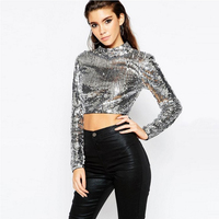 Anself Sexy Women Sequin Crop Top Turtleneck Long Sleeve Cropped T shirt Female Glittering Bling Casual Party T Shirt Top Silver