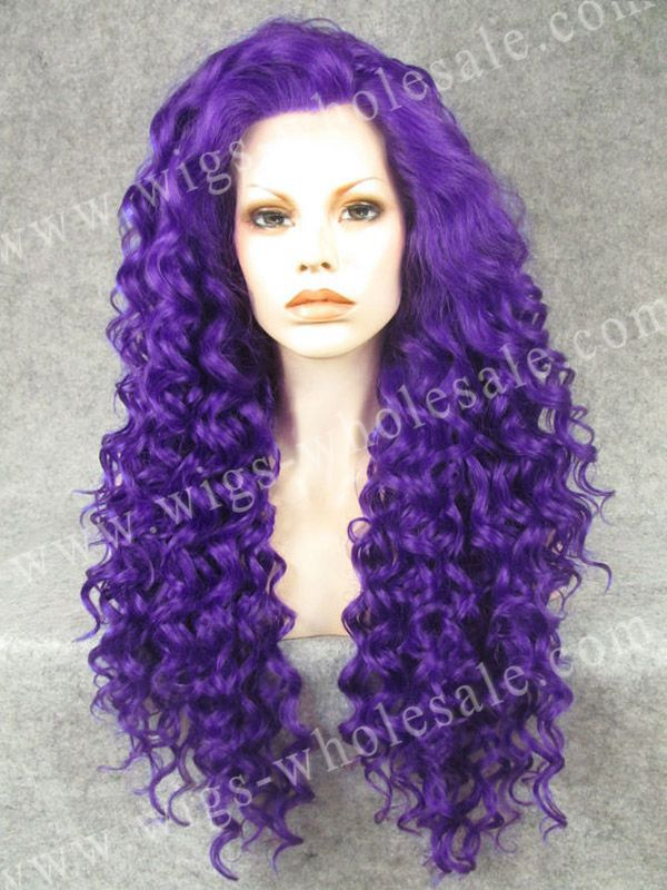 ФОТО Rupaul Wig Stunning Long Kinky Curly Purple Cosplay Wig Lace Front Synthetic Wig