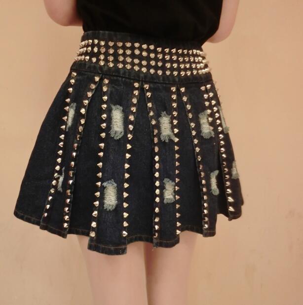 Women's metal rivet A-line punk denim skirt lady's Rock and roll rivet clothes R241