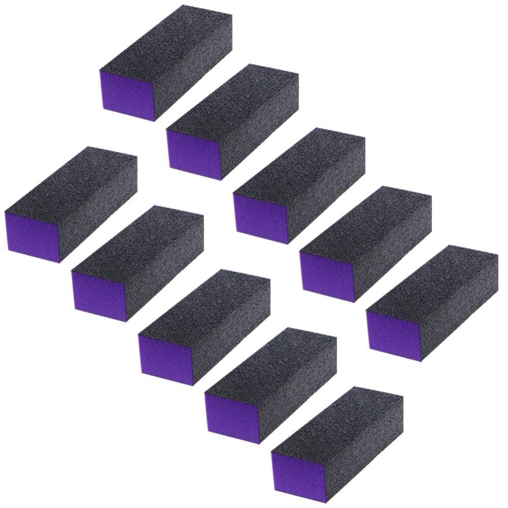 10 Pcs 3-Sided Black Purple Buffer Buffing Sanding Block Files Grit Nail Art Tool Set