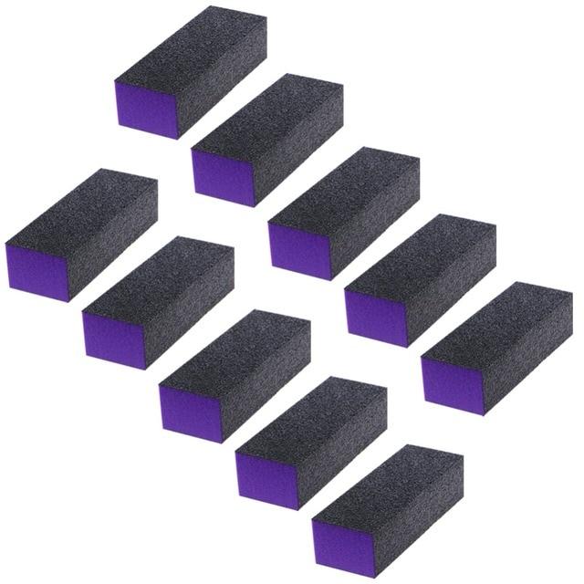 10 Pcs 3 Sided Black Purple Buffer Buffing Sanding Block Files Grit Nail Art Tool