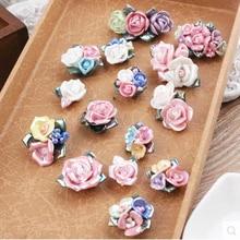 (10pieces/lot)Pretty Friend colored ceramic trumpet flower fridge magnet