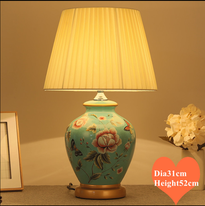 Chinese rural blue flower&butterfly ceramic Table Lamps European dimmer/touch fabric E27 LED lamp for bedside&foyer&studio MF008
