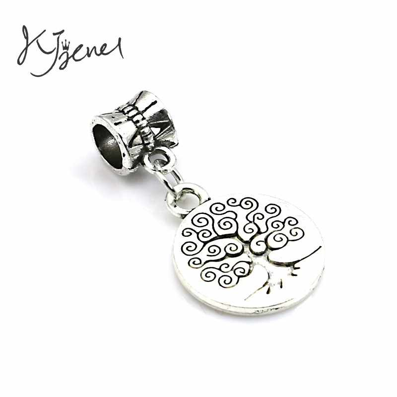 5pcs/lot Tibetan Silver Plated Round Tree of Life Charm Beads fit European Charms Bracelet Jewelry Diy Jewelry Findings Handmade