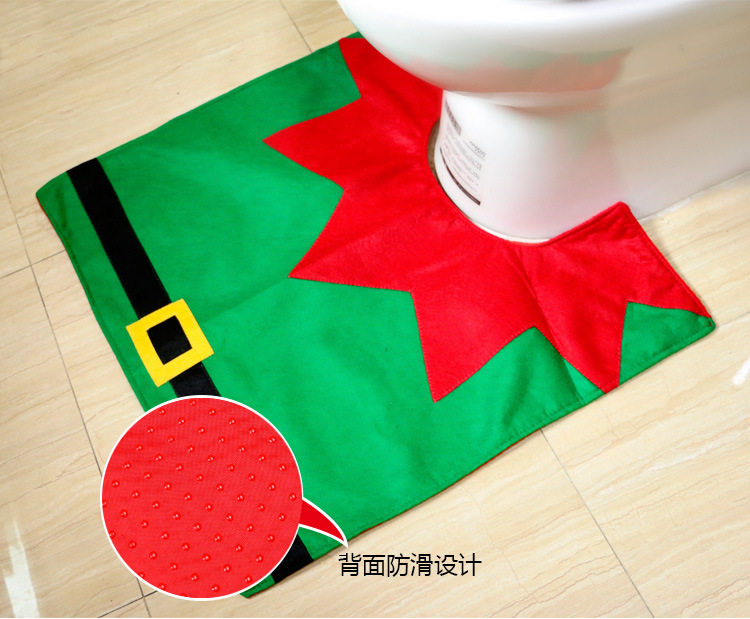 3pcs Set Christmas Bear Toilet Seat Cover And Rug Bathroom Contour Xmas Home Decorations Natal Navidad Decoracion In Covers From