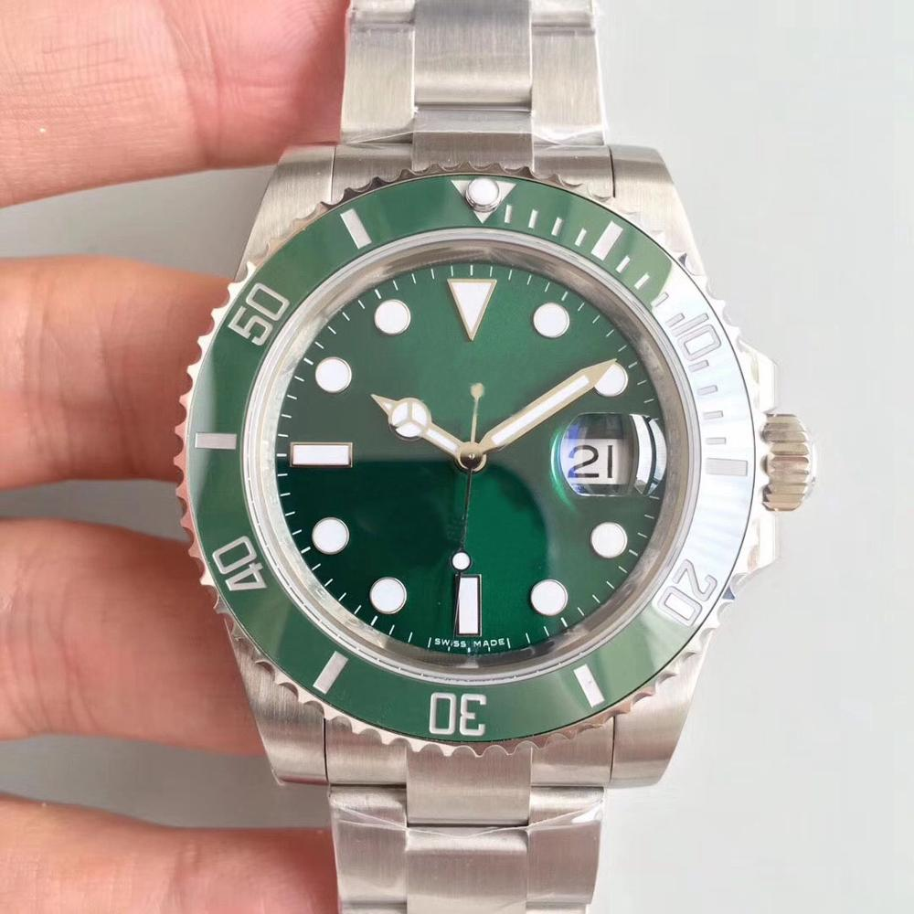 Classic style automatic mens watches 116610LV 40mm green dial stainless steel strap Glidelock ceramic bezel men mechanical watchClassic style automatic mens watches 116610LV 40mm green dial stainless steel strap Glidelock ceramic bezel men mechanical watch