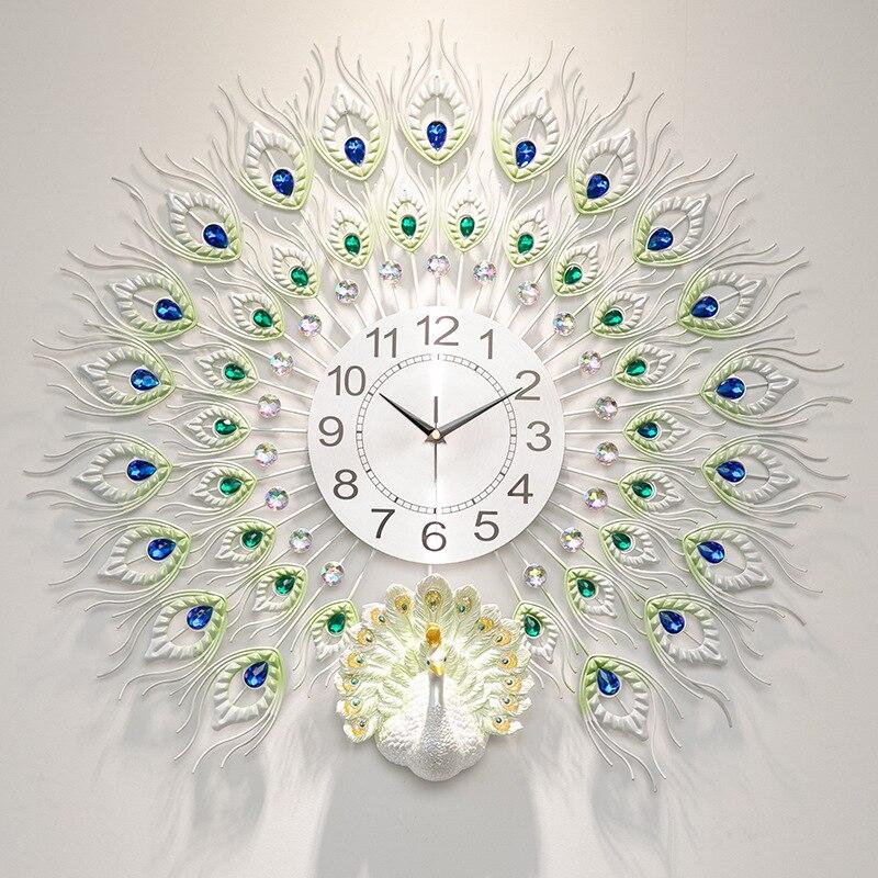 Large Metal Peacock Creative Living Room Beautiful Wall Clock Mute Clock European Modern Home Fashion Decorative Quartz Clock