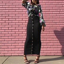 2018 Vintage Women High Waist Bodycon Long Skirt Female Split Pencil Solid Skirt Button Maxi Musulmane Islamic Turkish Skirts