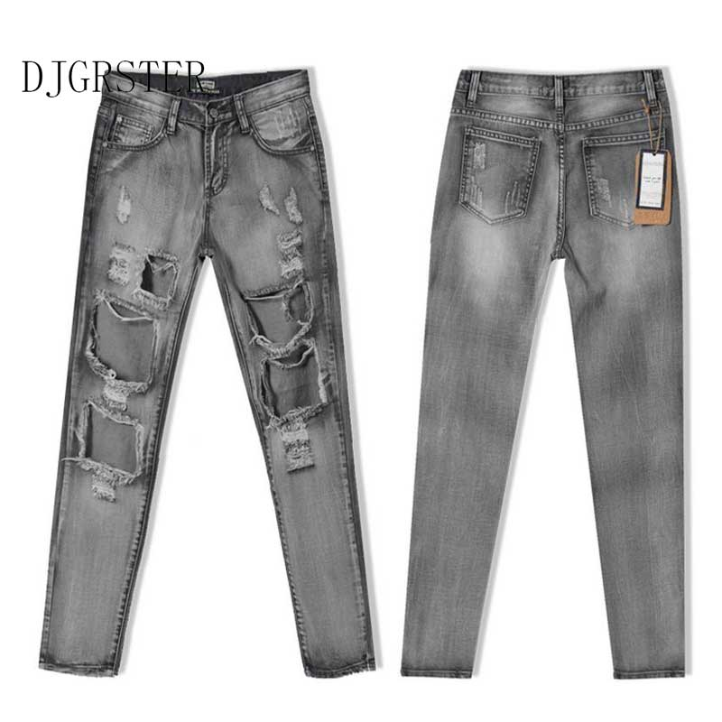 DJGRSTER Fashion Pencil Pants Hole jeans woman skinny ripped jeans for women vaqueros mujer boyfriend jean