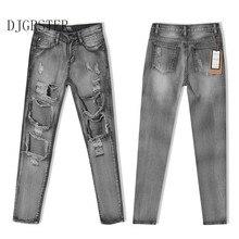 DJGRSTER Моды Карандаш Брюки Отверстие джинсы женщина тощий рваные джинсы для женщин vaqueros mujer boyfriend жан джинсовые брюки pantalon
