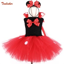 Baby Girls Red Cartoon Tutu Dress With Bow Headband Kids Tulle Dress White Dots For Kids Party Cosplay Dress Ballet Tutu Dress jeremiah flowers girls dress white sleeveless bow cute girls dress party dress for kids girls tutu wedding dress for girls