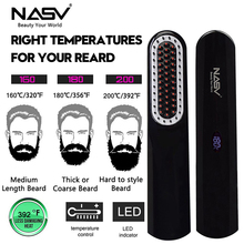 Straightener Wireless Hair-Comb Beard-Hair Electric Portable Lcd USB 2in1