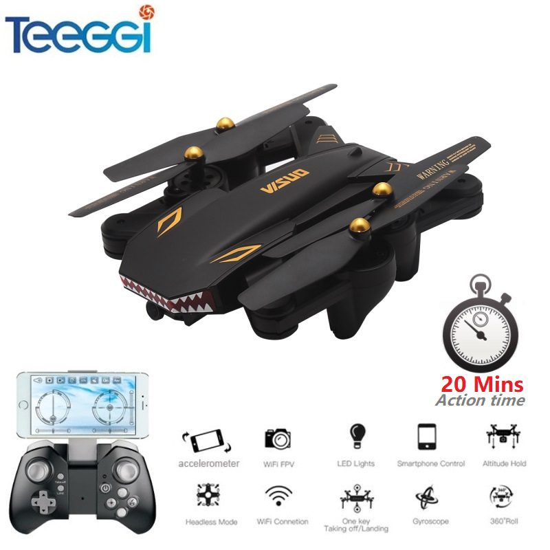 Teeggi VISUO XS809S XS809HW Upgraded Foldable RC font b Drone b font with 720P Wide Angle