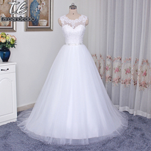 Scoop Neckline Applique Beading Sash White Wedding Dress A-line Illusion Button Back Long Bridal Dress Under 100(China)