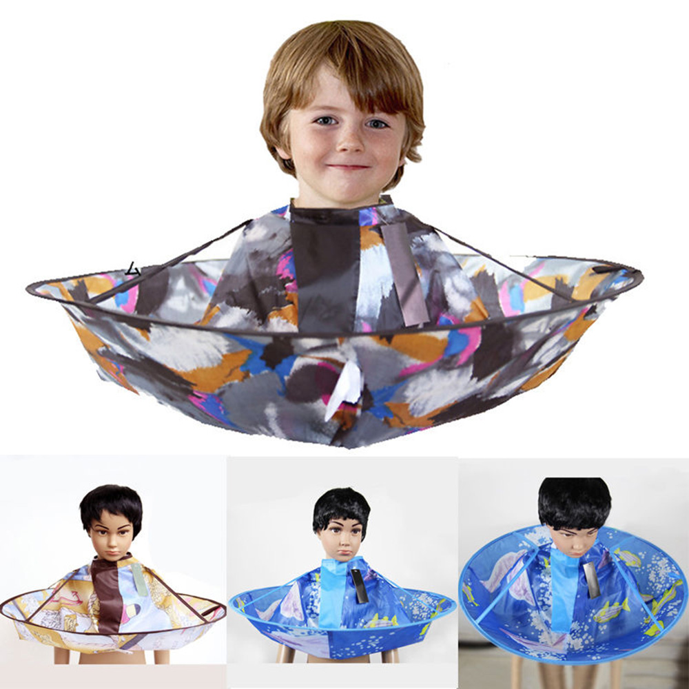 Useful Foldable Design Kids Haircutting Cloak Shampoo Capes Barber Hairdresser Hair Cut Clothes for 0-10 Years Old Baby
