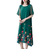 Plus Size Women Clothing 2019 Silk Chiffon Dress women Summer Dress Party Short Sleeve Casual Vestidos Elegant Black Robe Femme