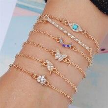L&H 6PCS/Set Shine Rhinestone Bracelets Set Women Elegant Flower/Leaves Gold Bohemia Creative Fashion Bangle