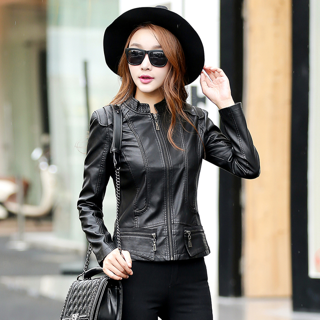 New Women Casual Basic Autumn Winter Jacket Coat patchwork Fashion Zipper Top PU Leather Full Sleeve Plus Size