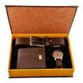 Мужской набор часов  модный роскошный подарочный набор с бумажником и ремнем для папы  подарочный набор для мужчин  подарок на Новый год с ко...