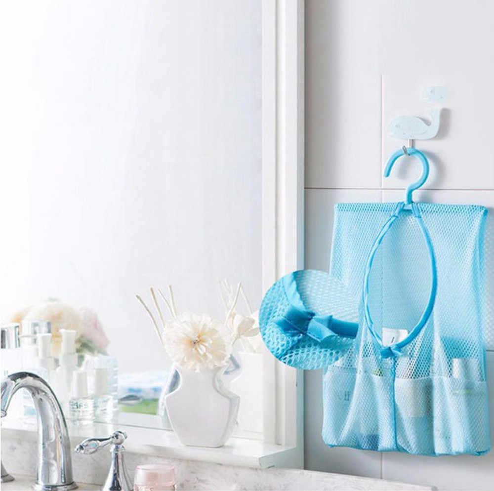 1 כיס אחסון אמבטיה אטב כביסה תליית תיק ארגונית טעינת לקוסמטיקה ווי שקית רשת פוליאסטר מקלחת אמבטיה 23May 23