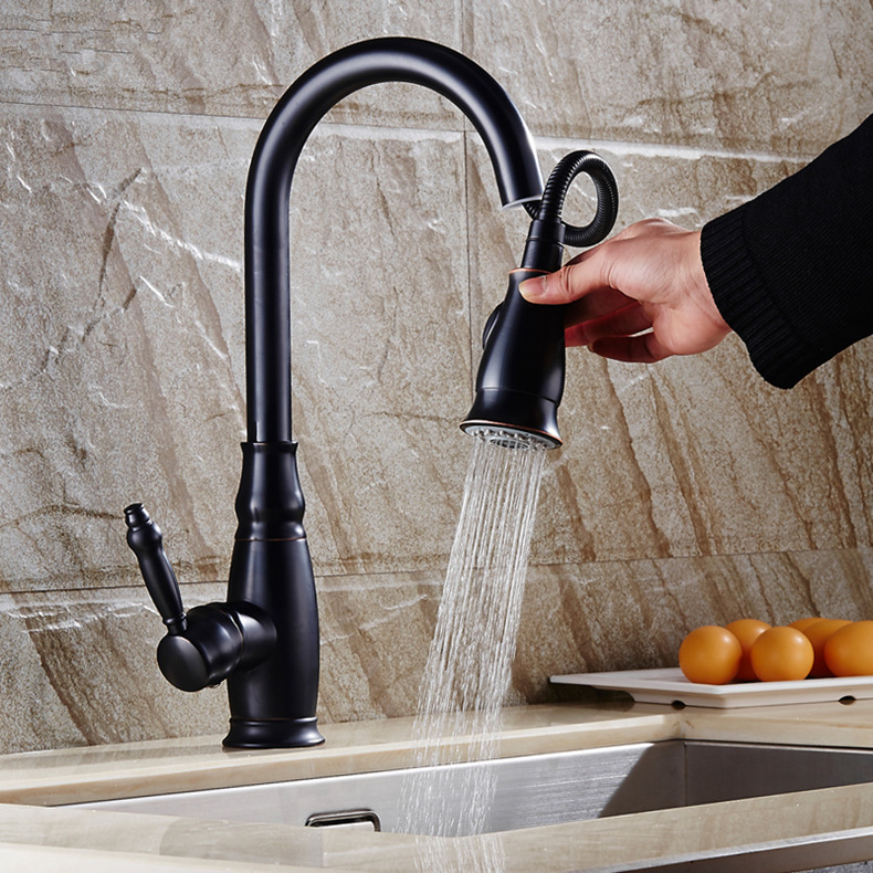 All Copper Pull-out Kitchen Faucet, European Dish Washing Basin, Stretching Basin, Black Water Trough Faucet