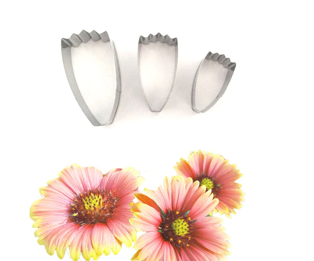 3pcs Daisy Flowers Shape Stainless Steel For Cake Cupcake Decorating