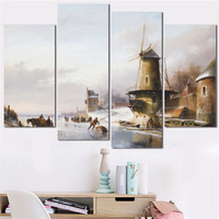 Classic Country Landscape Oil Painting Print on Canvas Vintage Natural Scenery Canvas Wall Art Print Paintings for Living Room