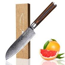 SUNNECKO 5 inch Damascus Santoku Knife Japanese VG10 Steel Sharp Blade Meat Fruit Cutter Pakka Wood Handle Kitchen Knives