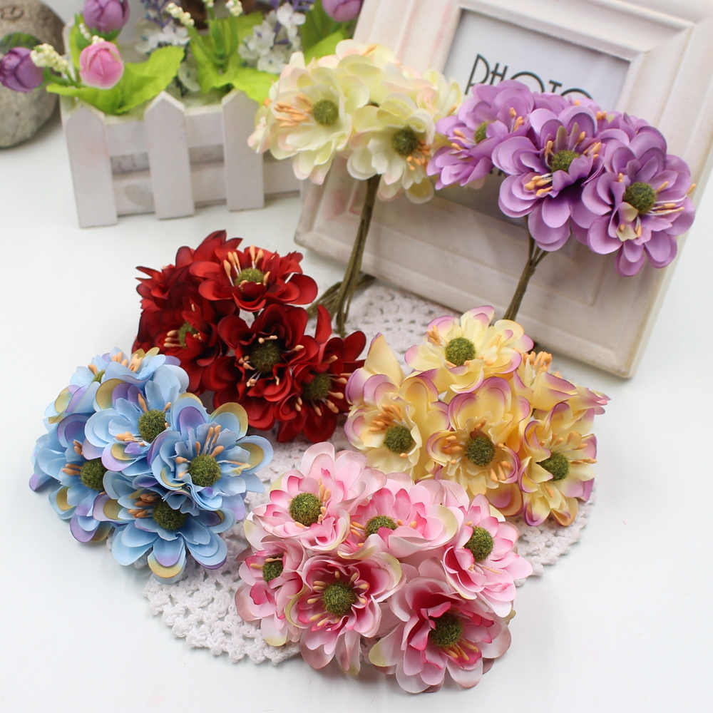 New 6pcs lot 5cm artificial gradient sakura wedding home for Artificial flowers decoration for home