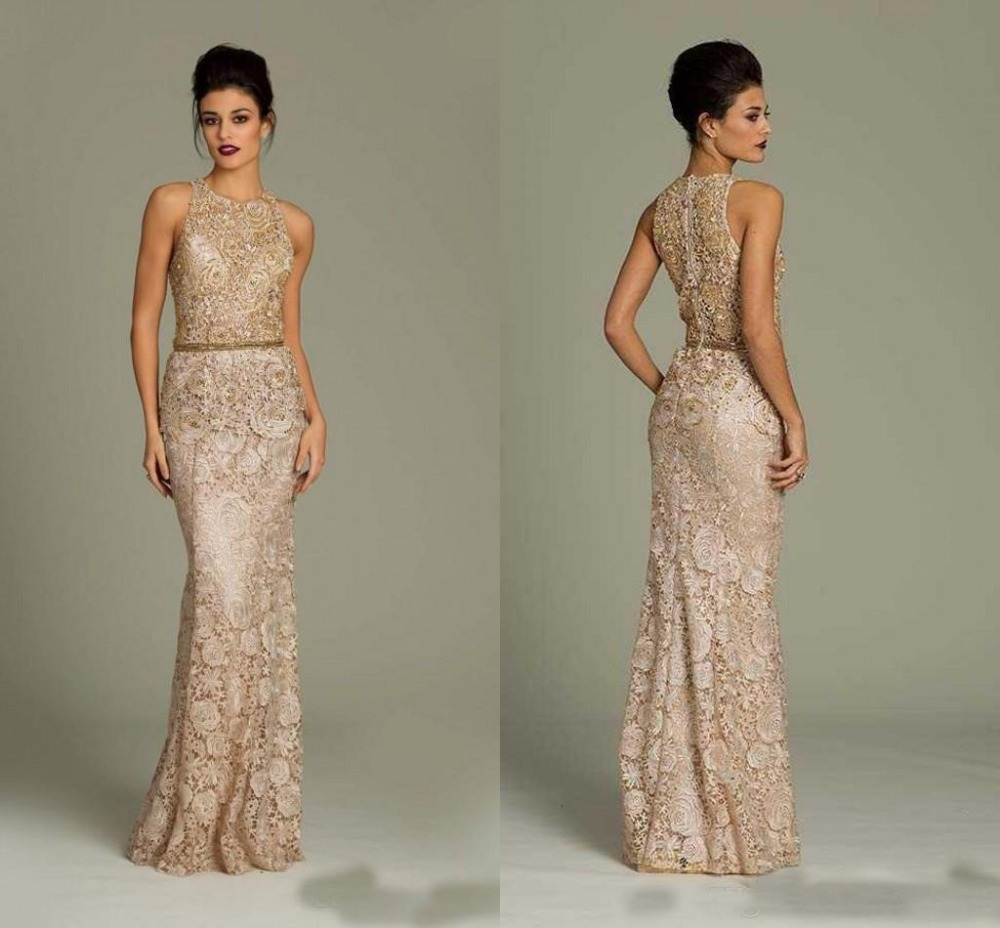 Champagne Sheath Lace Mother Of The Bride Dresses Jewel
