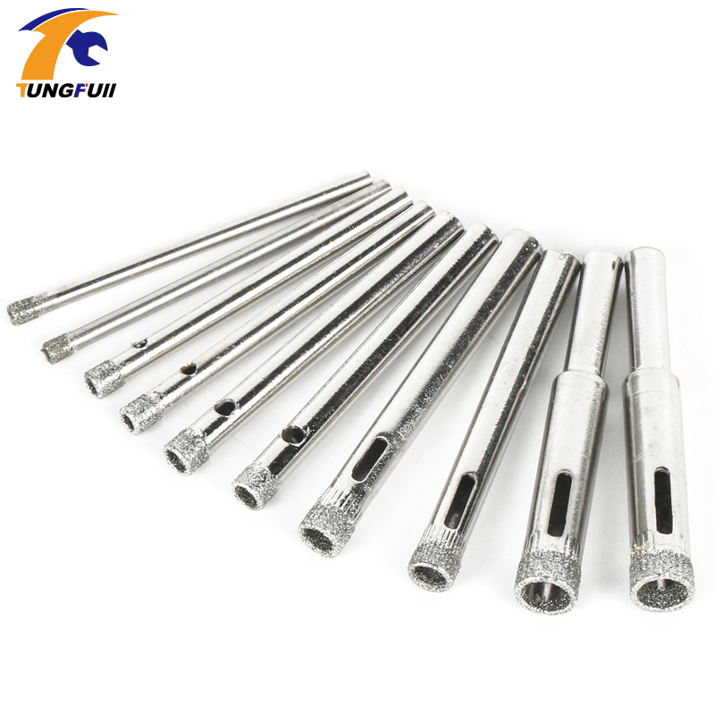 10pcs New Diamond Coated Hole Saw Granite Glass Tile Marble Core Drill Bits 3mm 4mm 5mm 6mm 8mm 10pcs 3 4 5 6 8mm diamond coated core saw hole drill tool for glass marble tiles g205m best quality