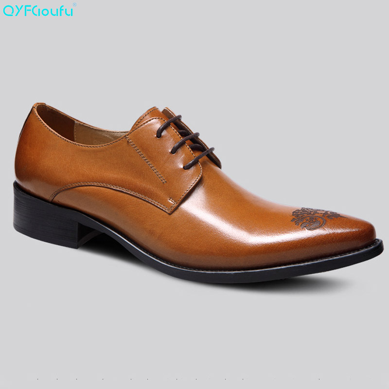 QYFCIOUFU Fashion Mens Dress Shoes Genuine Leather High Quality Cow Leather Formal Carved Black Wine Red Khaki Oxford Shoes in Formal Shoes from Shoes