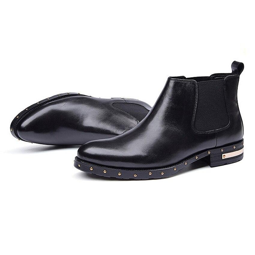 Chelsea Couro Dedo Do De Genuíno Artesanal Ankle Homem Homens Forma Ao Apontado Da Martin Cravejado Dos Boots Cowboy marrom Sapatos Preto Livre Ar Montaria Ymx384 xXvxwr