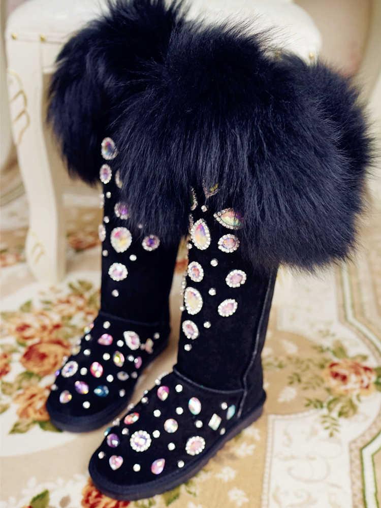 หนังนิ่มหนังจริงขนต้นขาสูงรองเท้า Bling คริสตัลเข่าผู้หญิงฤดูหนาวรองเท้าบู๊ตหิมะฤดูหนาวรองเท้า
