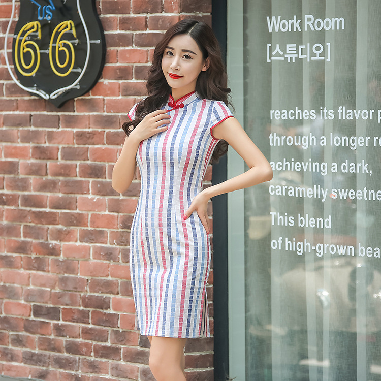 Hot Traditional Chinese Dress Colorful Stripe Cheongsam Cotton Evening  Dress Short Sleeve Qipao Dress Chinese Clothing Store-in Cheongsams from  Novelty ... 83e8d2fbdffb