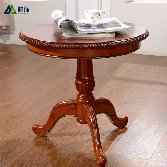 European Round Coffee Table Minimalist Wood Small American French Oak Negotiating Teasideend