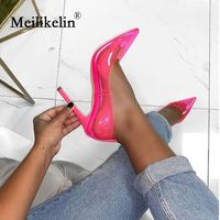 2019 women's pumps transparent PVC stilettos high heeled sexy lady pointed toed slip on woman rose wedding shoes designer pumps
