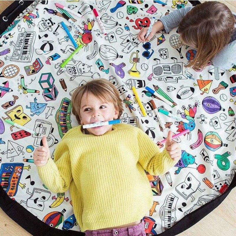 Multifunction Bag Kids DIY Graffiti Toy Organizer Storage Bag Portable Play Mat Large Durable Round Kids Crawling Rug Blanket