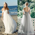 2017 Beach Off The Shoulder Sweetheart Pleated White Boho Wedding Dress Sexy Backless Romantic Bridal Gown Robe De Mariage n688